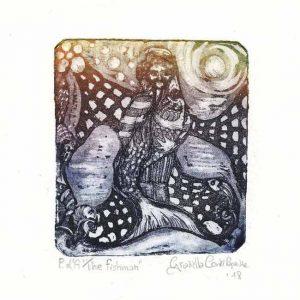 Graziella Conti Papuzza 1, Italy, The Fishman, 2018, Etching and Aquatint , 8,7 x 9,5 cm