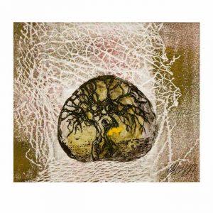 Masha Orlovich 2, Israel, Olive Tree (Autumn), 2017, Etching, Collagraph, 12 x 14 cm