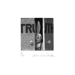 Robin MacFarlan 1, UK, Truth, 2016, Etching, 7 x 7 cm