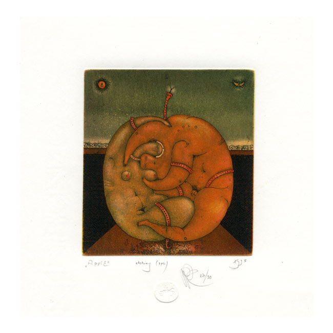 Roman Romanyshyn 1, Ukraine, Apple, 1998, Etching in 3 Plates, 9,4 x 7,6 cm