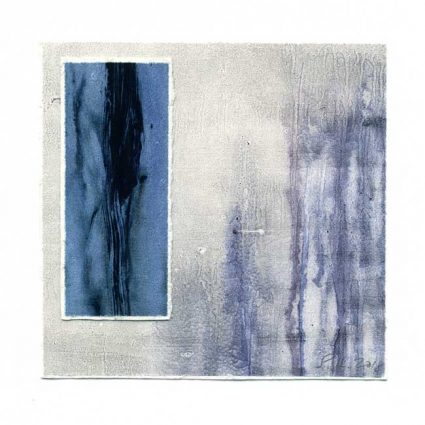 Sirpa Häkli 1, Finland, Blue Forest I, 2018, Monotype, Acrylic Colour, Collage, 13 x 13 cm