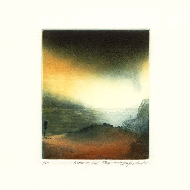 Stephen Lawlor, 13, Ireland, Road to the Sea, Etching, 11 x 9 cm