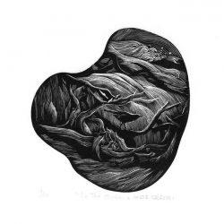 Takanori Iwase 1, Japan, In the Shade, 2017, Wood Engraving, 11 x 12 cm