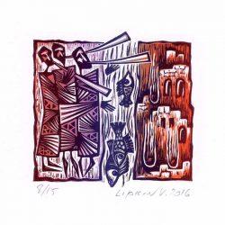 Victor Lipkin 1, Israel, The Trumpets of Jericho, 2016, Lino, 11 x 13 cm