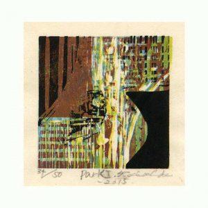 Yoshie Uchida 1, France, Portrait, 2013, Woodcut, 9 x 14 cm