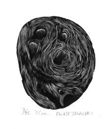 Takanori Iwase 10, Japan, Flow, 2014, Wood Engraving, 10 x 8 cm