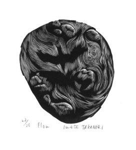 Takanori Iwase 11, Japan, Flow, 2014, Wood Engraving, 10 x 9 cm
