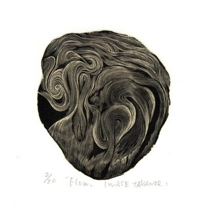 Takanori Iwase 12, Japan, Flow, 2016, Wood Engraving, 11 x 9 cm