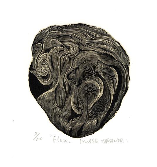 Takanori Iwase 12, Japan, Flow, 2016, Wood Engraving, 11 x 9 cm
