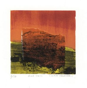 Takanori Iwase 4 , Japan, Red Rain, 2010, Waterless Lithograph, 10 x 10 cm