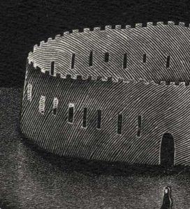 """Detail aus dem Bild """"Paper Castle"""" des japanischen Künstlers Kouki Tsuritani"""