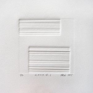 A. Rosemary Watson 1, UK, L.XXIX.VI.I, 2015, Blind Embossed Collograph, 10 x 10 cm