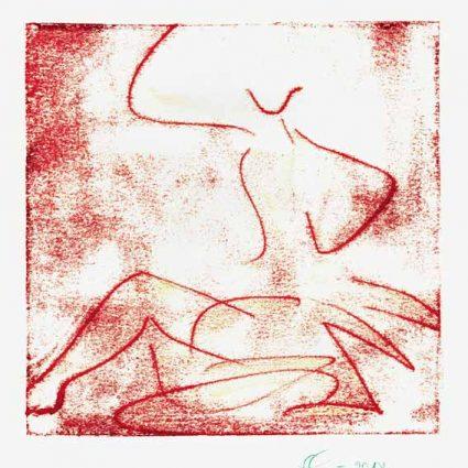 Elvira Clément 1, Deutschland, Morgenhell, 2018, Monotypie, 15 x 15 cm, 90