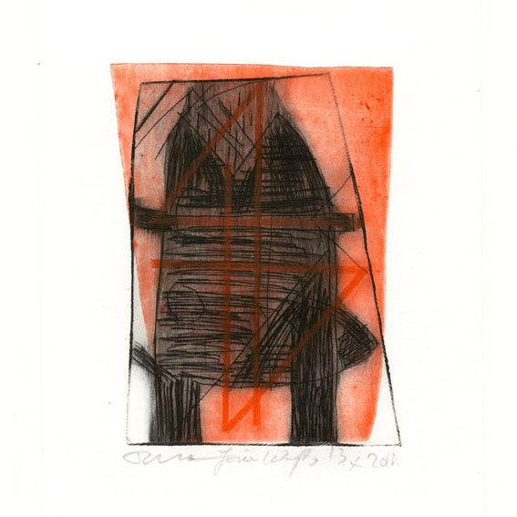 Josée Wuyts + Frans de Groot 6, Netherlands, Tower Signal, 2011, Dry Point, Etching, 11 x 8 cm, 75