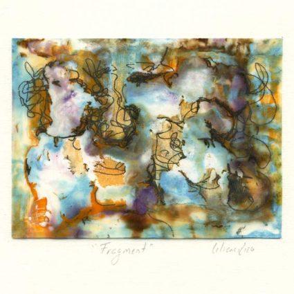 Liliana Rizo 5, Mexico, Fragment, 2018, Encaustic on paper 13.5 x 10 cm