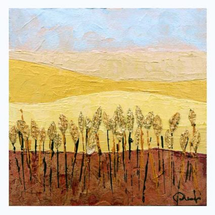 Maria Rita Onofri 1,Italy, Wheat, 2018, Acrylic, Spatula with Worked Metal,15 x 15 cm, 250