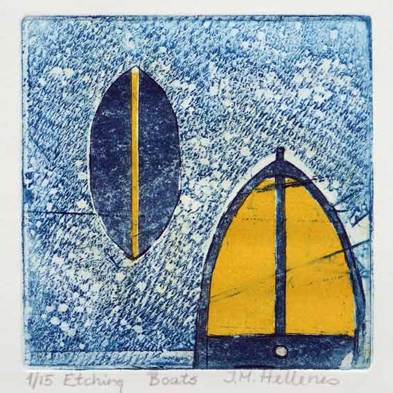Ida-Marie Hellenes 2, Norway, Boats, 2018, Etching, 10 x 10 cm, 40