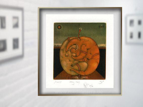 """Klein ist groß: Roman Romanyshyns Radierung """"Apple"""" hat einen der Excellence-Jury-Preise der Internationalen Kunstinstallation 2018 in Köln gewonnen!"""