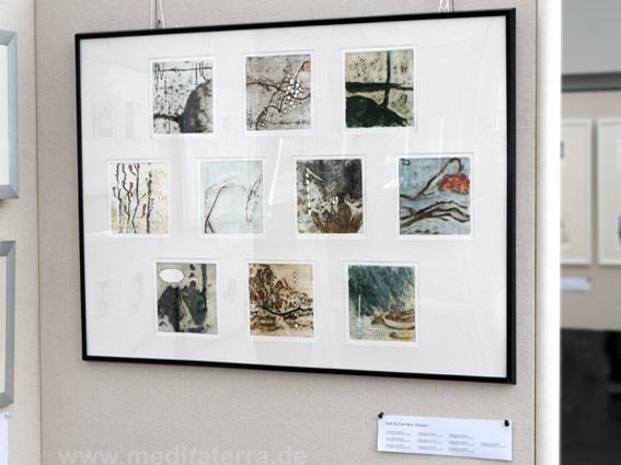 """April Ng Kiow Ngor: Zehn kleinformatige Bilder in der Ausstellung """"16 mal Kunst"""" in Weißenthurm am Rhein"""
