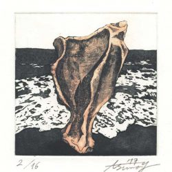 Asuna Yamauchi 1, Japan, Pale Pink Bones: Sea 3, 2017, Etching, Aquatint, 10 x 10 cm