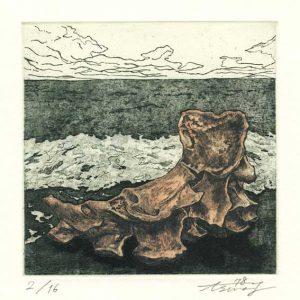 Asuna Yamauchi 8, Japan, Pale Pink Bones: Sea 14, 2018, Etching, Aquatint, 14 x 14 cm