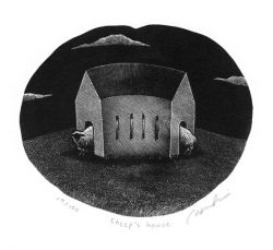 Kouki Tsuritani 1, Japan, Sheep's House, 2017, Wood Engraving 11 x 13 cm, 100