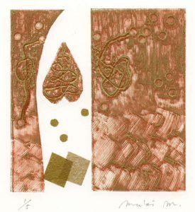 Maki Mimura 5, Japan, Ties 8, 2018, Collagraph, 13.5 x 13 cm, 80