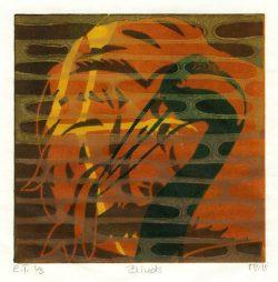 Merete Bartholdy 1, Denmark, Blinds, 2018, Linocut, 13 x 13 cm, 100