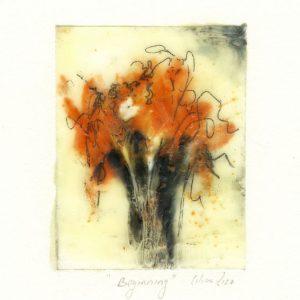 Liliana Rizo 2, Mexico, Beginning, 2018, Encaustic on paper 9 x 11.5 cm