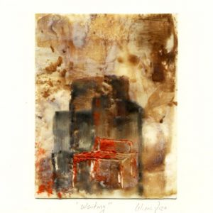 Liliana Rizo 4, Mexico, Waiting, 2018, Encaustic on paper 10.5 x 13.7 cm