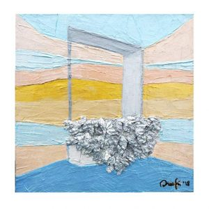Maria Rita Onofri 7,Italy, Window The Sky, 2018, Acrylic, Spatula with Worked Metal,15 x 15 cm