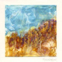 Monica Romero 10, México, Imaginary landscape, 2018, Encaustic, 15 x 15 cm