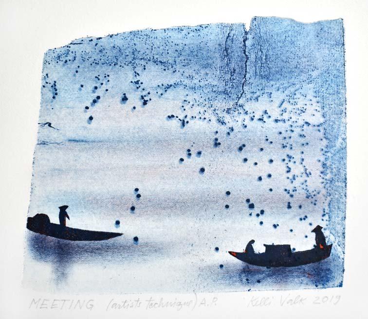 Kelli Valk 5, Estonia, Meeting, 2019, Artists Technique 13 x 14 cm