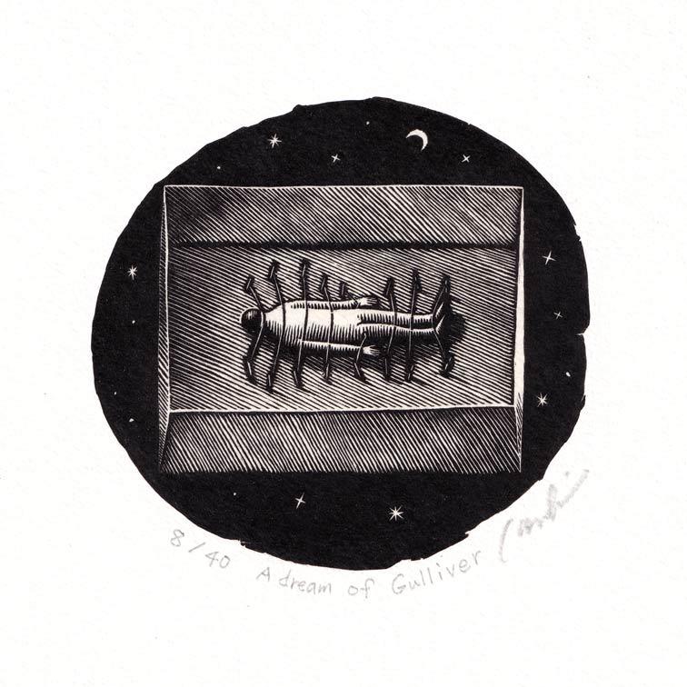 Kouki Tsuritani 1, Japan, A Dream of Gulliver, Wood Engraving, 9 x 9 cm