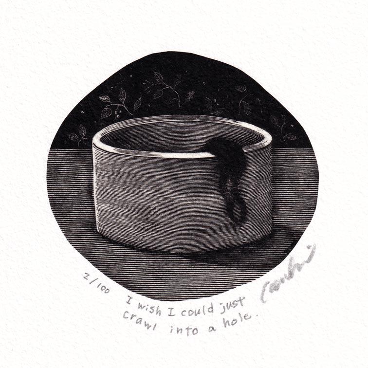 Kouki Tsuritani 14, Japan, I wish I could just crawl into a Hole, Wood Engraving, 8 x 8,5 cm