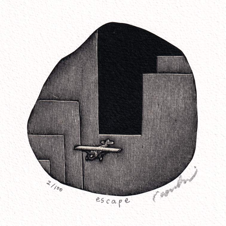 Kouki Tsuritani 19, Japan, Escape, Wood Engraving, 8 x 8 cm