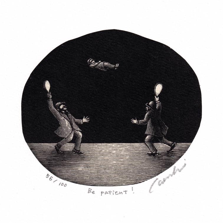 Kouki Tsuritani 4, Japan, Be Patient, Wood Engraving, 9,5 x 10,5 cm