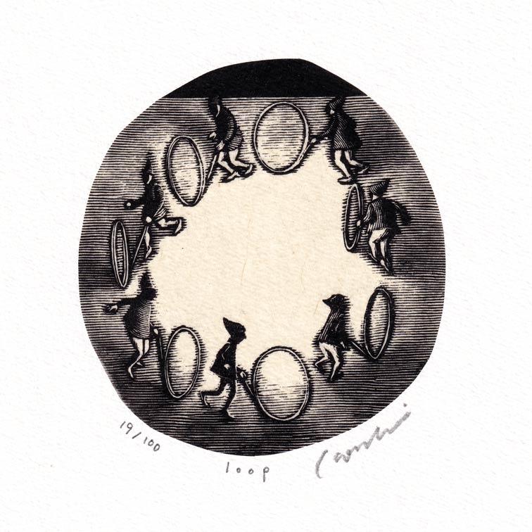 Kouki Tsuritani 5, Japan, Loop, Wood Engraving, 9 x 8,5 cm
