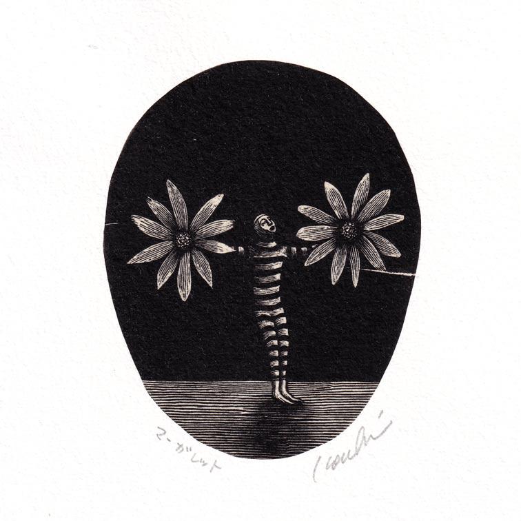 Kouki Tsuritani 8, Japan, Margaret, Wood Engraving, 9 x 9 cm