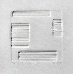 A. Rosemary Watson 1, United Kingdom, L.XXIX,VI,V, 2017, Blind Embossed Collograph, 10 x 10 cm
