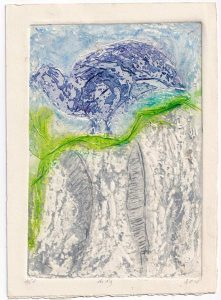 Aida Stolar 2, Israel, Blue Bird, 2018, Linocut and Acid Work, 21,5 x 15 cm