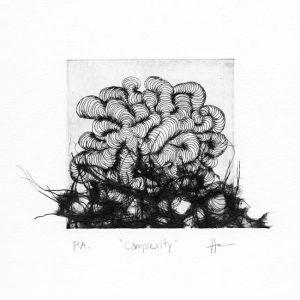 Alejandra Sánchez 1, Mexico, Complexity, 2018, Acuatint + Chine-Collé, 9,7 x 9,7 cm