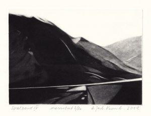 Alina Jackiewicz-Kaczmarek 1, Poland, Svalbard IV, 2019, Mezzotint, 12,5 x 17,5 cm