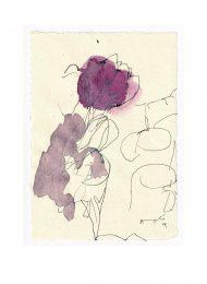 Angelo de Martin, Italy, Violet, 2019, Ink on Paper, 21 x 16 cm