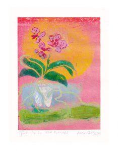 Anna Sihvonen 1, Finland, Red Flowers, 2019, Woodcut, 19,5 x 14,5 cm