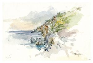 Anton Eckel 2, Austria, Coast on Crete, Water Color, 2005, 27 x 18 cm