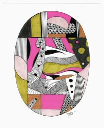 Brigitte Thonhauser-Merk 1, Austria, Oval Composition, 2018, Coloured Ink Pen Drawing, 20 x 25 cm