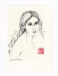 Catherine Gaillard Perez 1, France, Woman Portrait 1, 2018, Felt Pen, 21 x 15 cm
