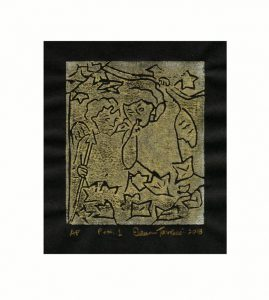 Eileen Tavolacci 1, USA, Putti 1, 2018, Woodcut, 10 x 8,5 cm