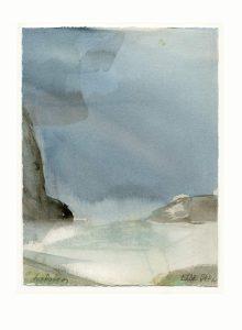Else Juhl Lundhus, No. 1, Denmark, Landscape Lofoten, 2017, Aquarell, 27,5 x 20 cm